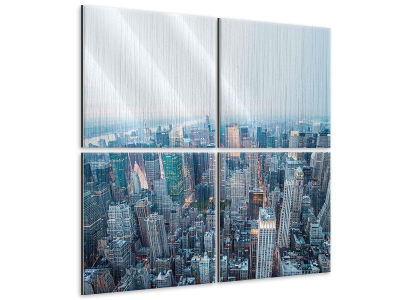 Metallic-Bild 4-teilig Skyline Manhattan in der Abenddämmerung