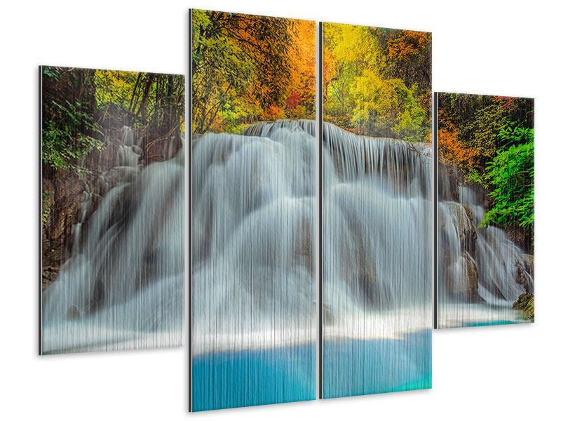 Metallic-Bild 4-teilig Fallendes Gewässer