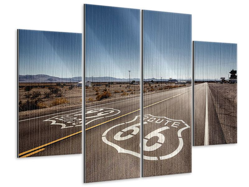 Metallic-Bild 4-teilig Route 66