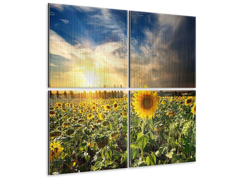 Metallic-Bild 4-teilig Sunny Flowers