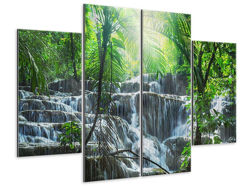 Metallic-Bild 4-teilig Wasserfall Agua Azul