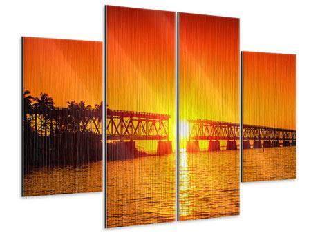 Metallic-Bild 4-teilig Sonnenuntergang an der Brücke