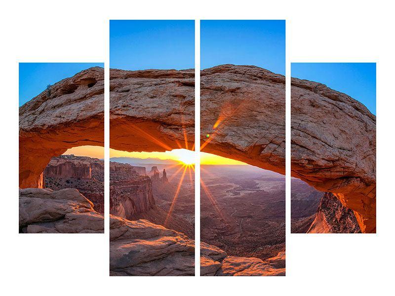 Metallic-Bild 4-teilig Sonnenuntergang am Mesa Arch