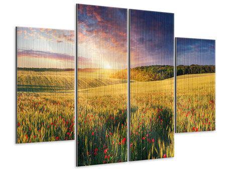 Metallic-Bild 4-teilig Ein Blumenfeld bei Sonnenaufgang