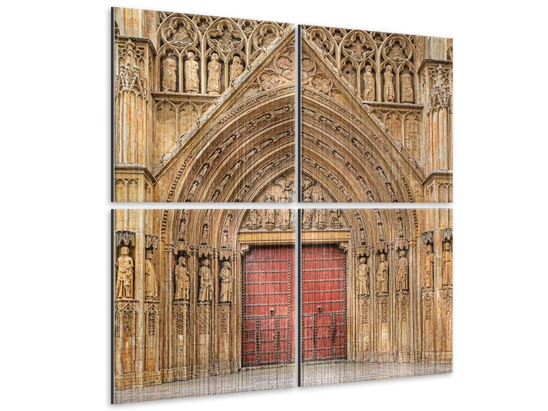 Metallic-Bild 4-teilig Kathedrale von Valencia