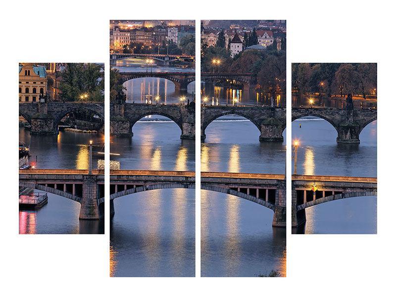 Metallic-Bild 4-teilig Brücken in Prag