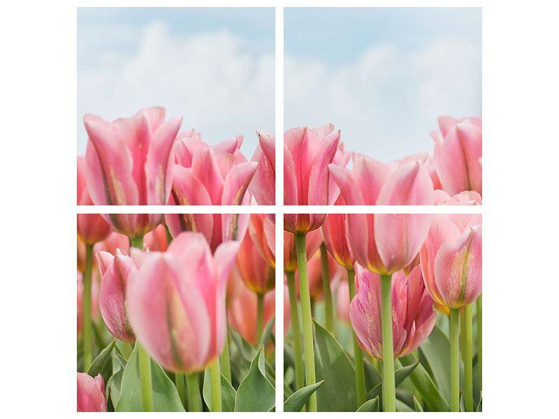 Metallic-Bild 4-teilig Zarte Tulpen