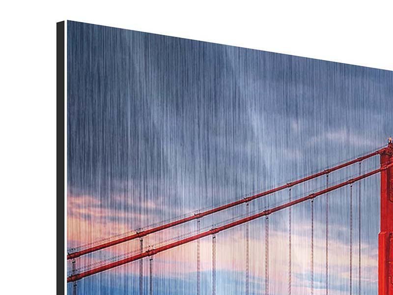 Metallic-Bild 4-teilig Der Golden Gate Bridge bei Sonnenuntergang