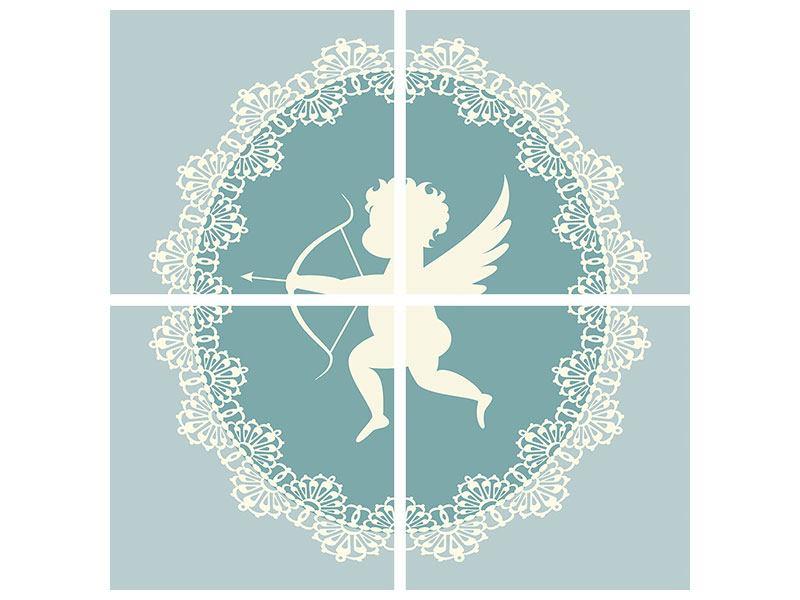 Metallic-Bild 4-teilig Engel Amore