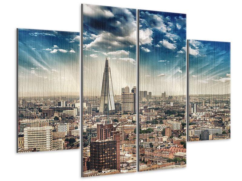 Metallic-Bild 4-teilig Skyline Über den Dächern von London