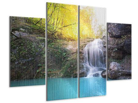 Metallic-Bild 4-teilig Fliessender Wasserfall