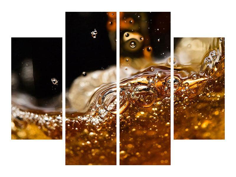 Metallic-Bild 4-teilig Cognac