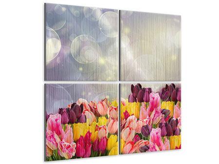 Metallic-Bild 4-teilig Buntes Tulpenbeet im Lichtspiel