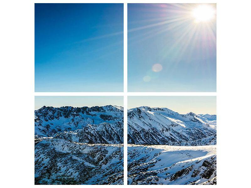 Metallic-Bild 4-teilig Berge im Schnee