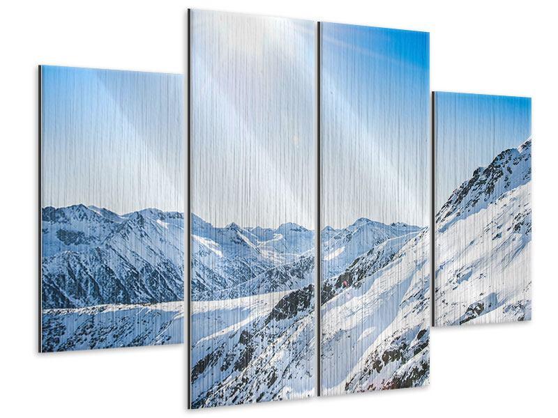 Metallic-Bild 4-teilig Bergpanorama im Schnee