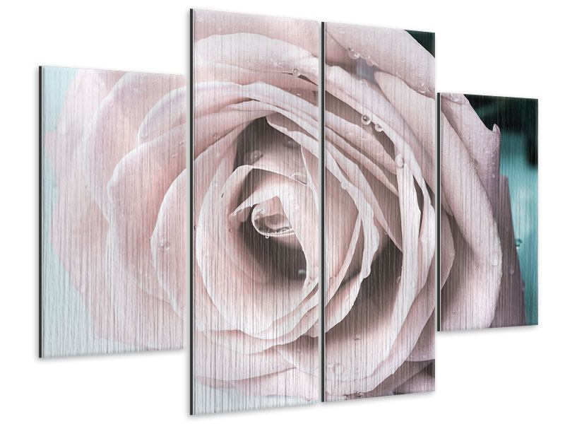 Metallic-Bild 4-teilig Pastellrose