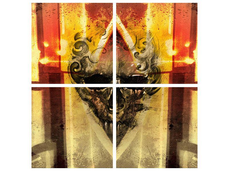Metallic-Bild 4-teilig Kunstvoller Totenkopf