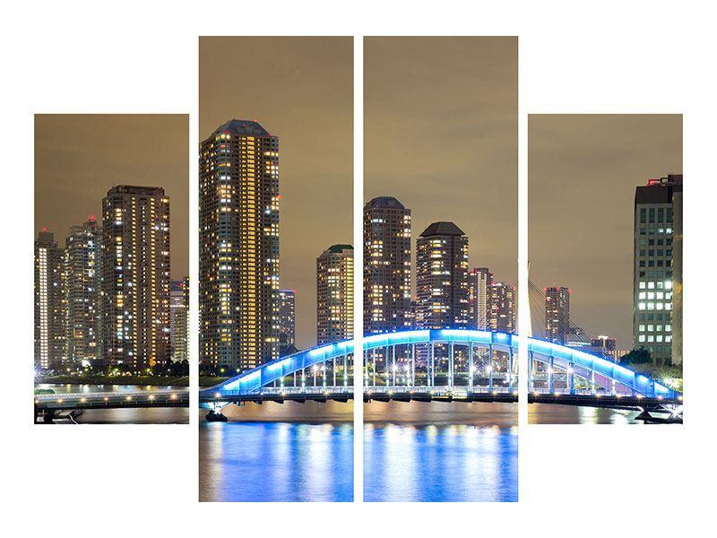 Metallic-Bild 4-teilig Skyline Tokio in der Nacht