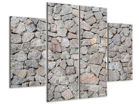 Metallic-Bild 4-teilig Grunge-Stil Mauer