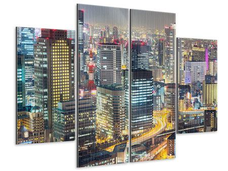 Metallic-Bild 4-teilig Skyline Osaka im Lichtermeer