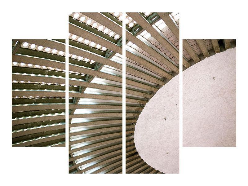 Metallic-Bild 4-teilig Abstraktes Rad