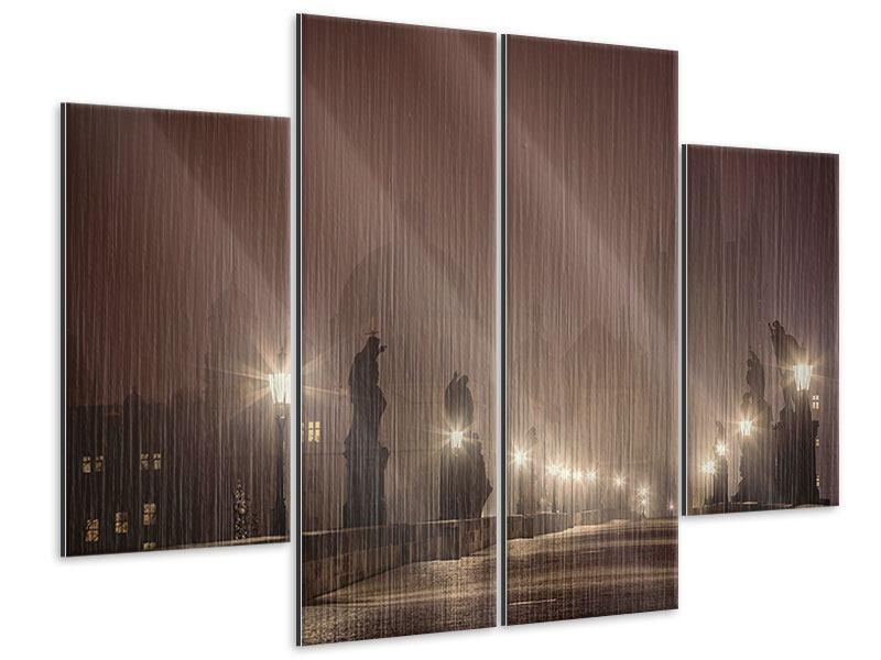 Metallic-Bild 4-teilig Die Karlsbrücke bei Nacht