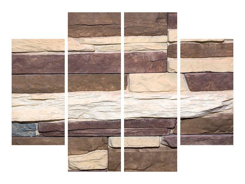 Metallic-Bild 4-teilig Designer-Mauer