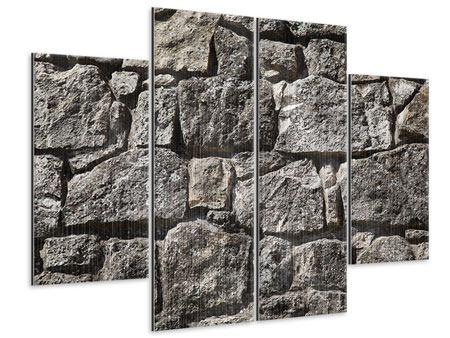 Metallic-Bild 4-teilig Grosses Mauerwerk