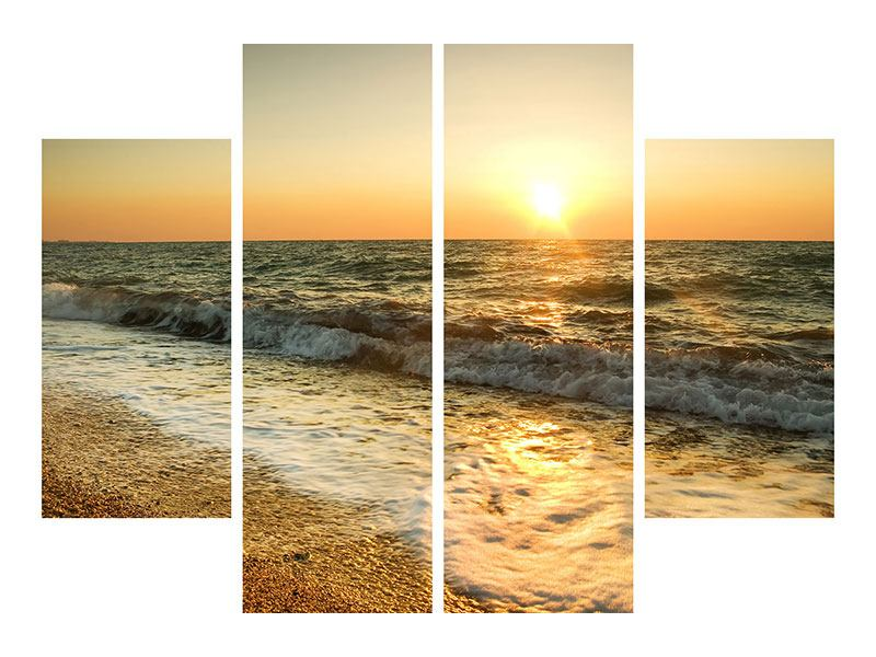 Metallic-Bild 4-teilig Sonnenuntergang am Meer