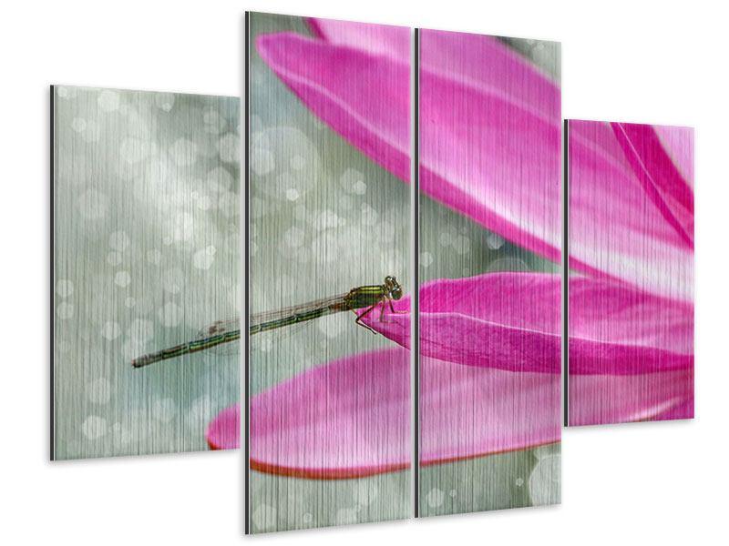 Metallic-Bild 4-teilig Libelle auf dem Seerosenblatt