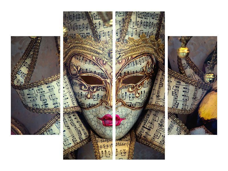 Metallic-Bild 4-teilig Venezianische Maske