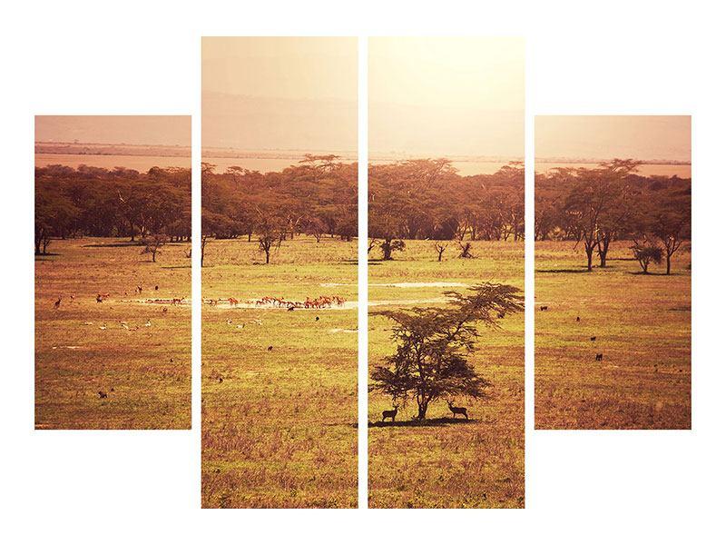 Metallic-Bild 4-teilig Malerisches Afrika
