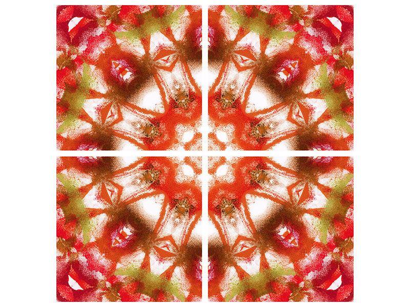 Metallic-Bild 4-teilig Geometrisches Gemälde