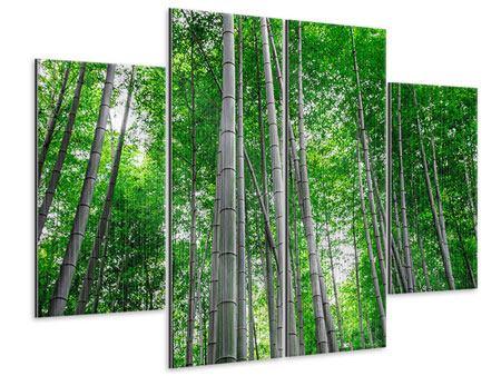 Metallic-Bild 4-teilig Bambuswald