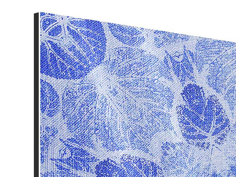Metallic-Bild 4-teilig Blaues Ornament