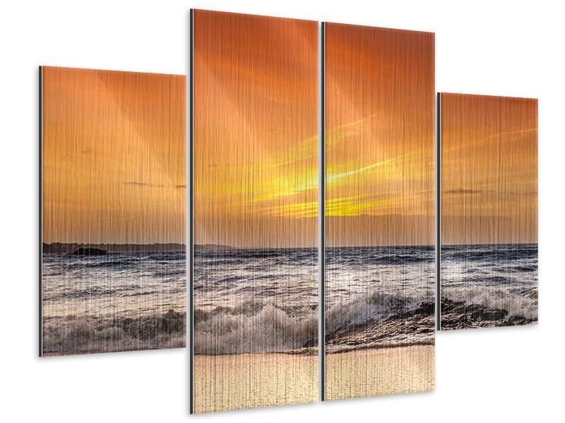 Metallic-Bild 4-teilig See mit Sonnenuntergang