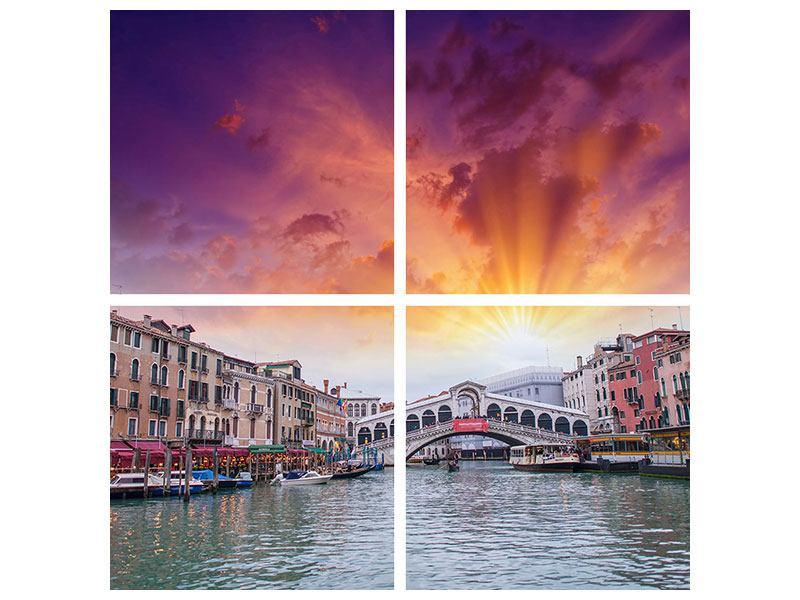Metallic-Bild 4-teilig Venedig