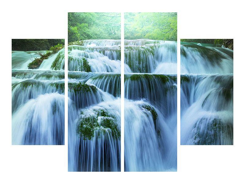 Metallic-Bild 4-teilig Gigantischer Wasserfall