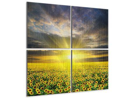 Metallic-Bild 4-teilig Abenddämmerung bei den Sonnenblumen