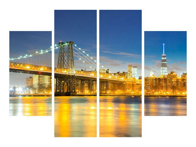 Metallic-Bild 4-teilig Brooklyn Bridge bei Nacht