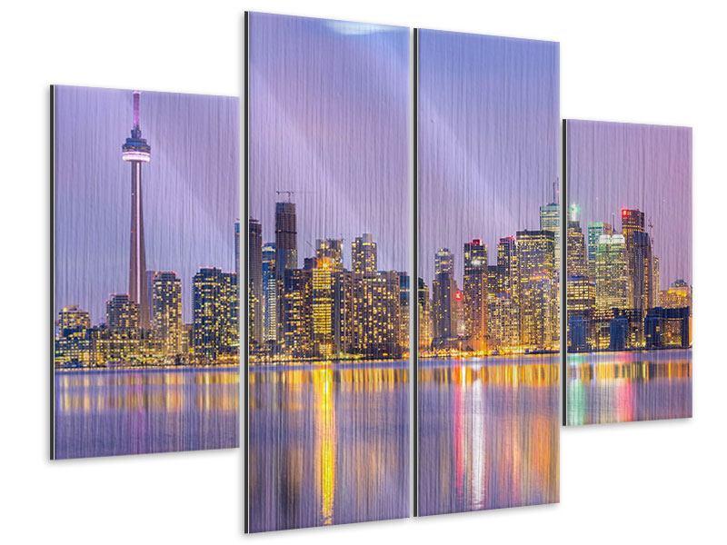Metallic-Bild 4-teilig Skyline Toronto bei Nacht