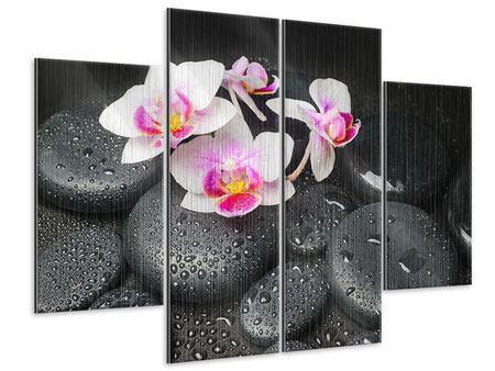 Metallic-Bild 4-teilig Feng-Shui-Orchidee Zen