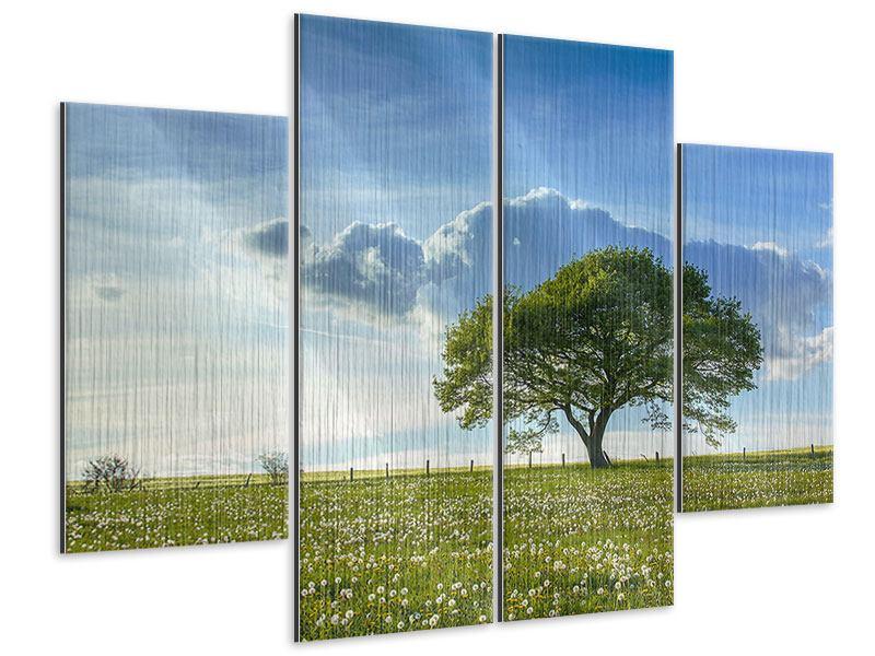 Metallic-Bild 4-teilig Frühlingsbaum