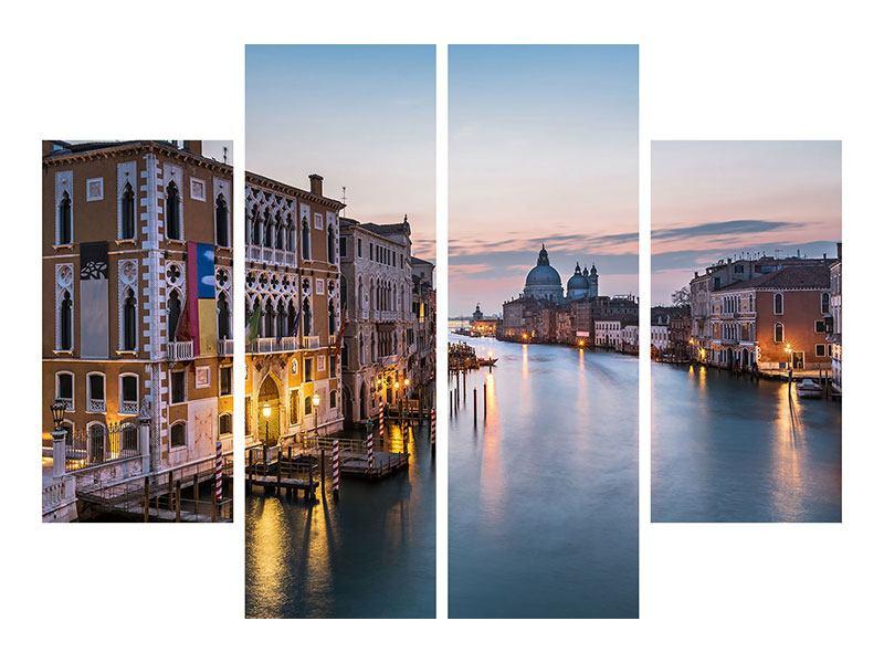 Metallic-Bild 4-teilig Romantisches Venedig