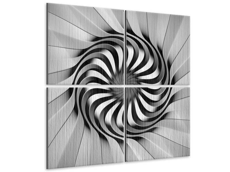 Metallic-Bild 4-teilig Abstrakte Spirale