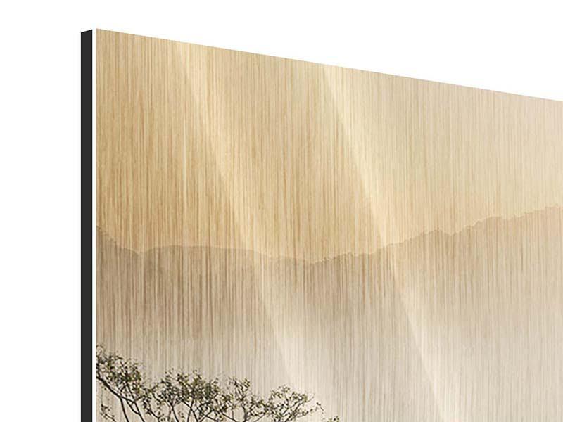 Metallic-Bild 4-teilig Lichtspiel im Wald