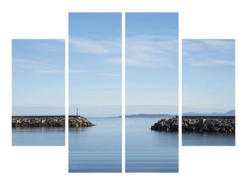 Metallic-Bild 4-teilig Hafenmauern