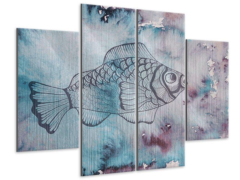 Metallic-Bild 4-teilig Fisch-Aquarell