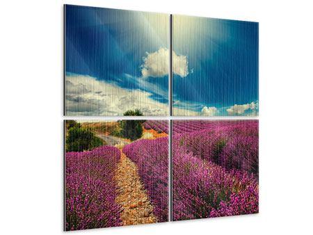 Metallic-Bild 4-teilig Das Lavendeltal