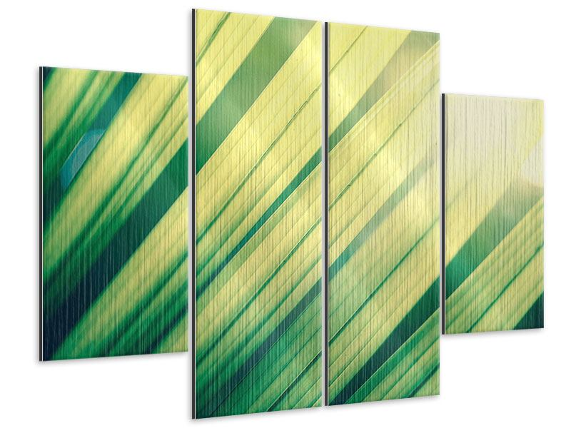 Metallic-Bild 4-teilig Beleuchtetes Palmblatt